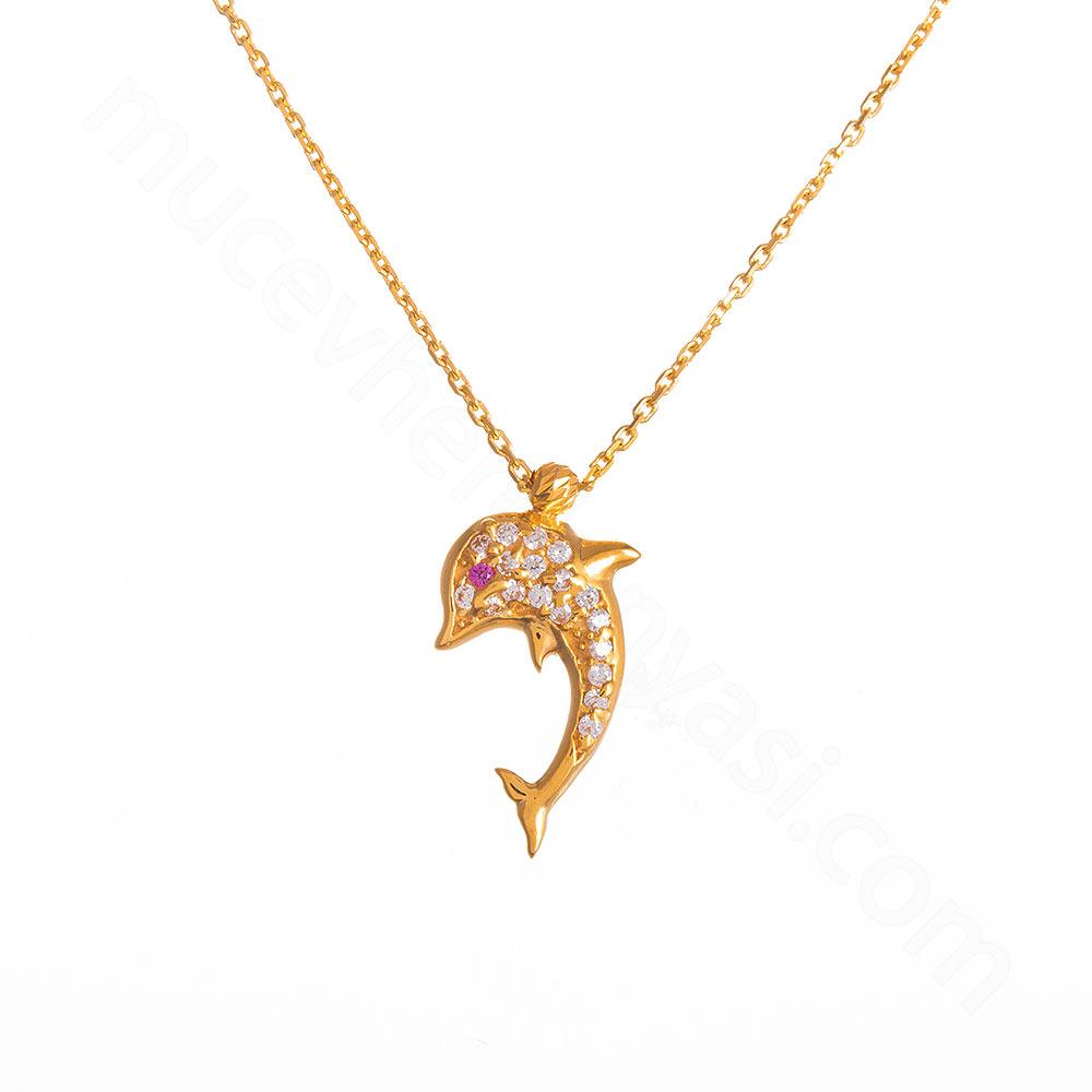Mücevher Dünyası - 22 Ayar Taşlı Yunus Balığı Altın Kolye - 3,51 Gr.