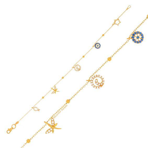 Mücevher Dünyası - 22 Ayar Taşlı Yusufçuk ve Yıldız Altın Bileklik - 4,17 Gr.