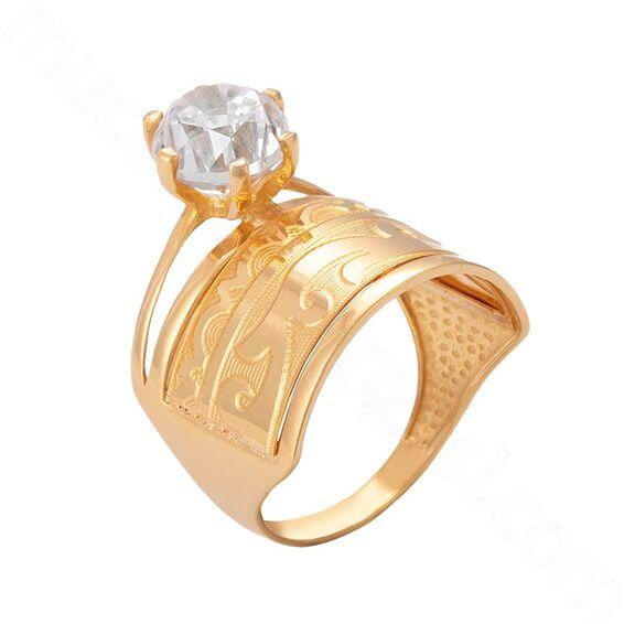 Mücevher Dünyası - 22 Ayar Alyanslı Tektaş Altın Yüzük - 4,24 Gr. - 18