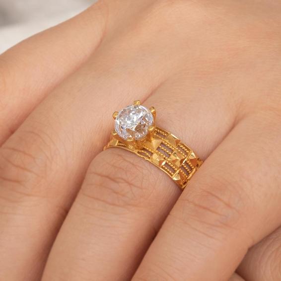 Mücevher Dünyası - 22 Ayar Tektaşlı Desenli Altın Yüzük - 4,46 Gr. - 20