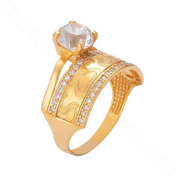 Mücevher Dünyası - 22 Ayar Alyanslı Tektaş Altın Yüzük - 6,33 Gr.
