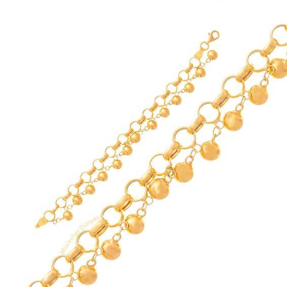 Mücevher Dünyası - 22 Ayar Tohumlu Nohutlu Çocuk Altın Bileklik - 8,99 Gr.