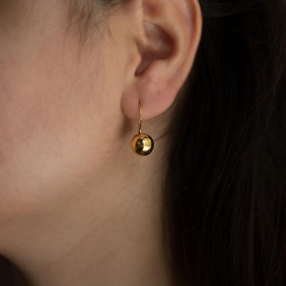 Mücevher Dünyası - 22 Ayar Sallantılı Top Altın Küpe - 4,63 Gr.