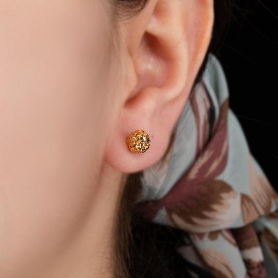 Mücevher Dünyası - 22 Ayar Top Altın Küpe - 1,78 Gr.