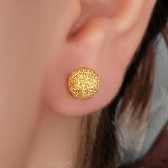 Mücevher Dünyası - 22 Ayar Top Altın Küpe - 2,56 Gr.