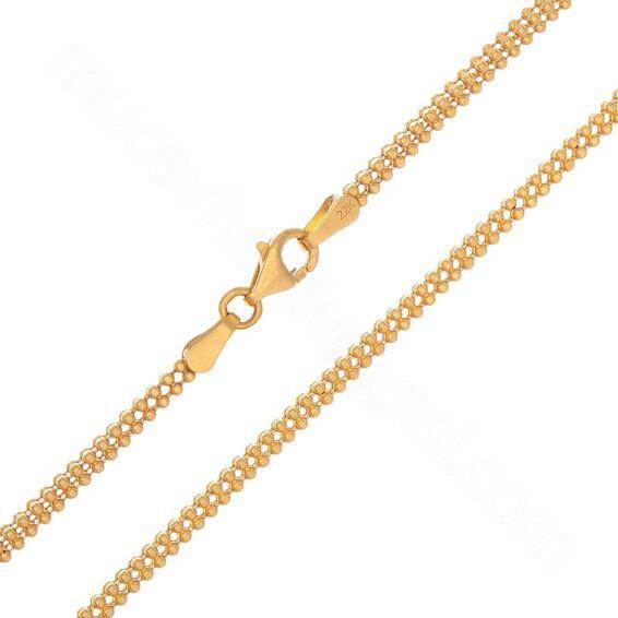 Mücevher Dünyası - 22 Ayar Toplu Altın Zincir - 70 Cm - 18,80 Gr.