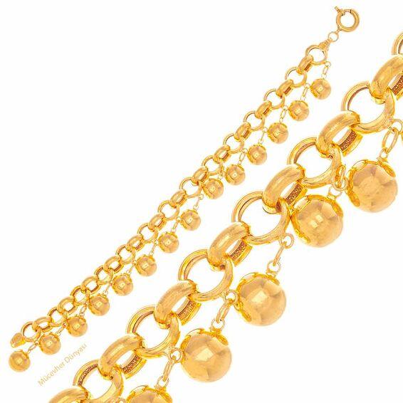 Mücevher Dünyası - 22 Ayar Toplu Nohutlu Altın Bileklik - 25,23 Gr.