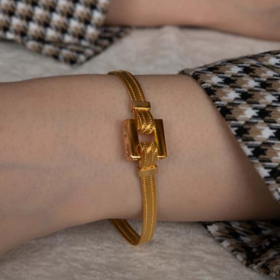 Mücevher Dünyası - 22 Ayar Trabzon Hasır Kordolu Altın Bileklik - 14,12 Gr.