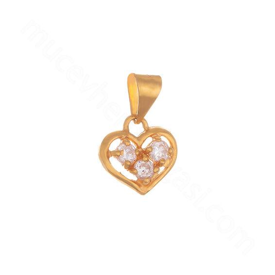 Mücevher Dünyası - 22 Ayar Üç Taşlı Kalpli Altın Kolye Ucu - 1,80 Gr.