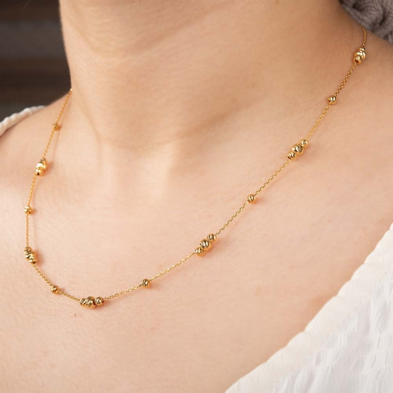 Mücevher Dünyası - 22 Ayar Üçlü Dorika Toplu Altın Kolye - 4,69 Gr. - 45 Cm.
