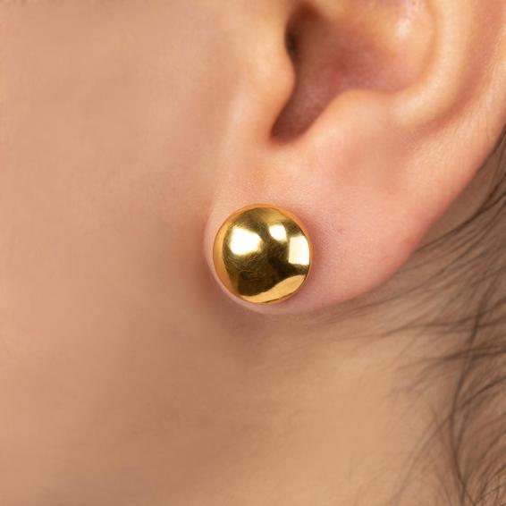 Mücevher Dünyası - 22 Ayar Yarım Top Altın Küpe - 2,96 Gr.