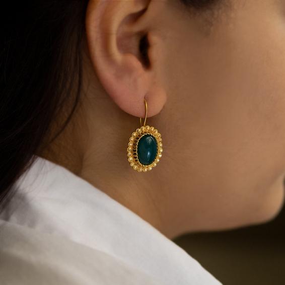 Mücevher Dünyası - 22 Ayar Yeşil Akik Taşlı Sallantılı Altın Küpe - 6,81 Gr.