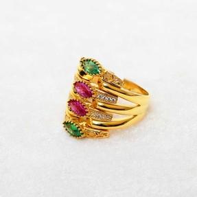 Mücevher Dünyası - 22 Ayar Yeşil - Kırmızı Taşlı Altın Fantezi Yüzük | Mücevher Dünyası