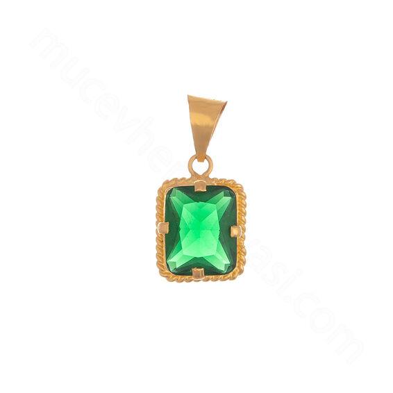 Mücevher Dünyası - 22 Ayar Yeşil Taşlı Altın Kolye Ucu - 1,96 Gr.
