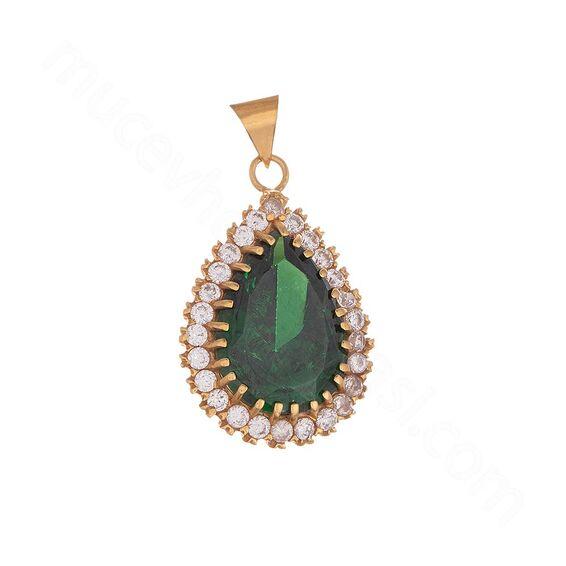 Mücevher Dünyası - 22 Ayar Yeşil Taşlı Damla Altın Kolye Ucu - 6,55 Gr.