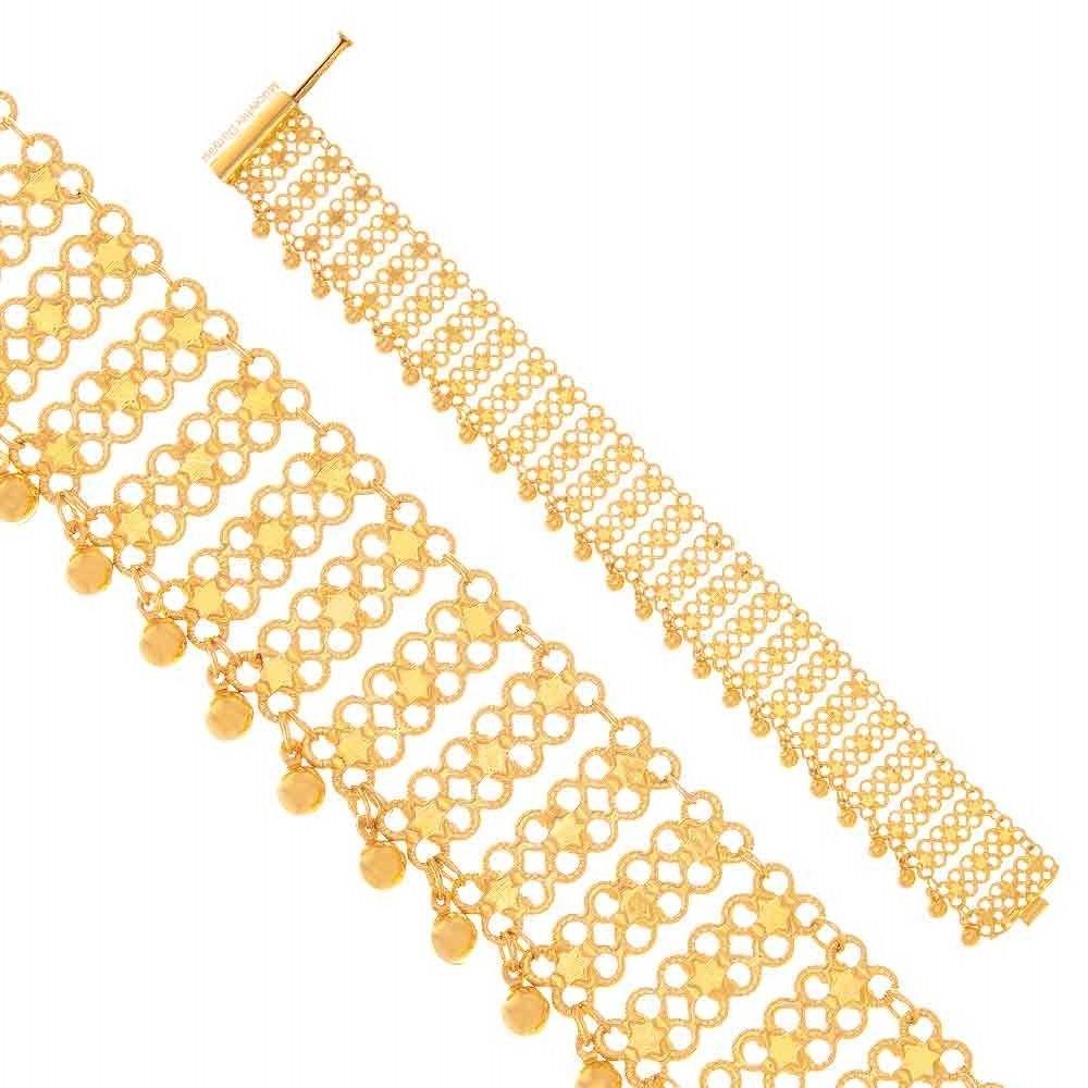 Mücevher Dünyası - 22 Ayar Yıldız Motifli Özel Tasarım Altın Bileklik - 16.01 Gr.
