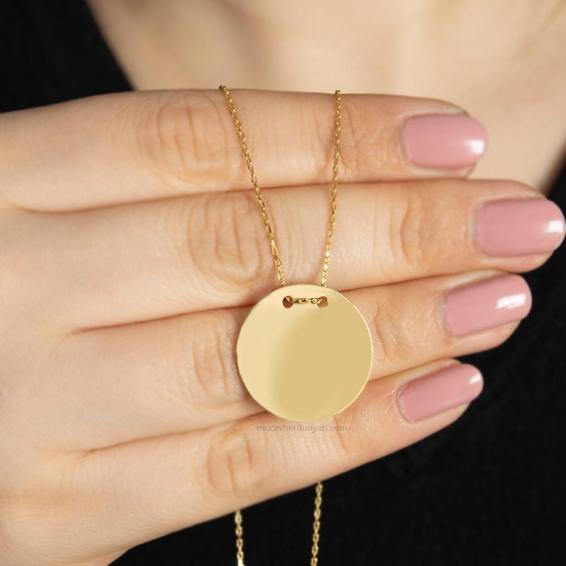 Mücevher Dünyası - 22 Ayar Yuvarlak Plaka Altın Kolye - 4,79 Gr.