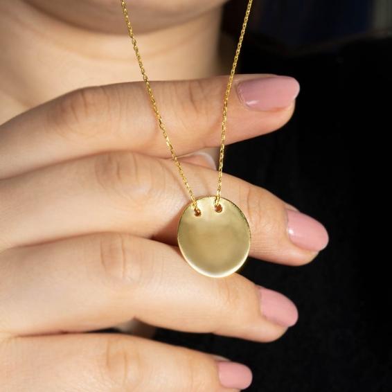 Mücevher Dünyası - 22 Ayar Yuvarlak Plaka Altın Kolye - 4,15 Gr.