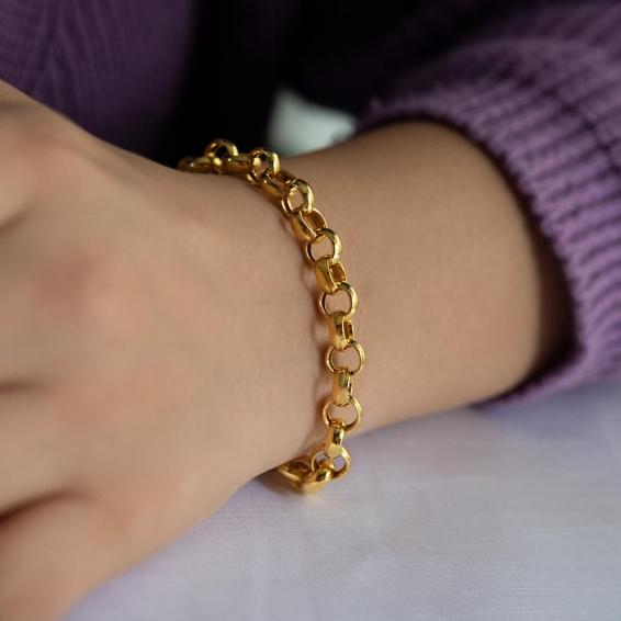 Mücevher Dünyası - 22 Ayar Zincir Altın Bileklik - 12,36 Gr. - 20 Cm. - 7 Mm.