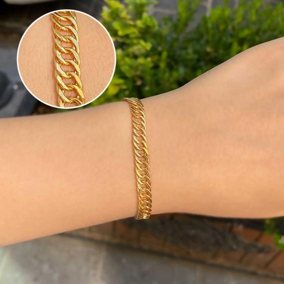 Mücevher Dünyası - 22 Ayar Kırkayak Zincir Altın Bileklik - 5,50 Gr. - 18 / 20 Cm.