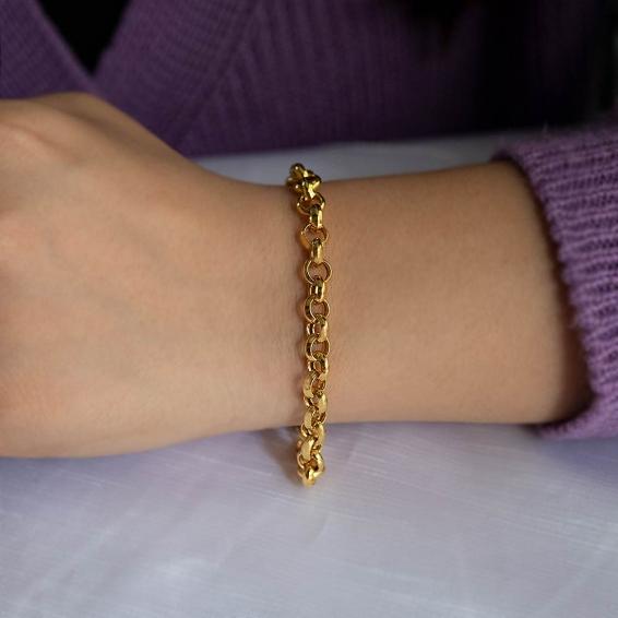 Mücevher Dünyası - 22 Ayar Zincir Altın Bileklik - 9,21 Gr. - 19 Cm. - 6 Mm.