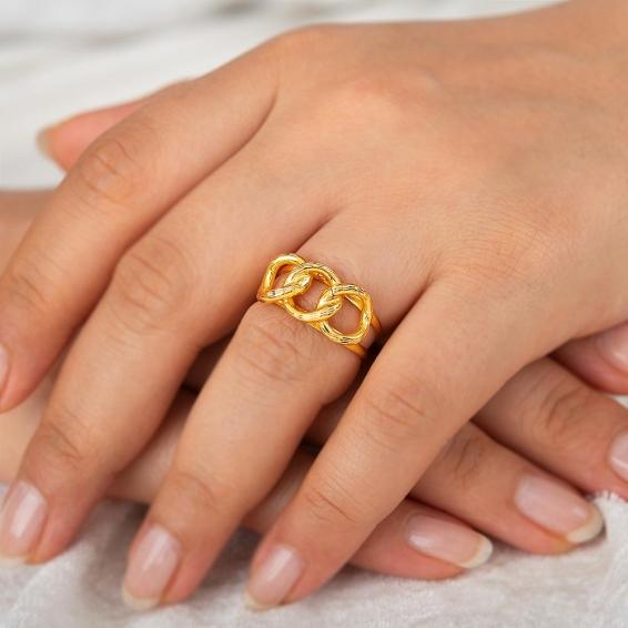 Mücevher Dünyası - 22 Ayar Zincir Altın Yüzük - 3,08 Gr. - 18