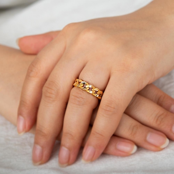 Mücevher Dünyası - 22 Ayar Zincir Altın Yüzük - 3,84 Gr. - 15
