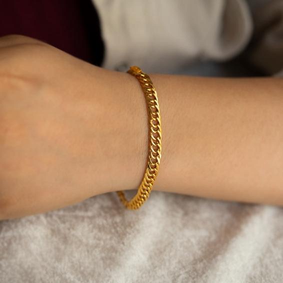 Mücevher Dünyası - 22 Ayar Zincir Bileklik - 5,63 Gr. - 18 Cm. - 6 Mm.