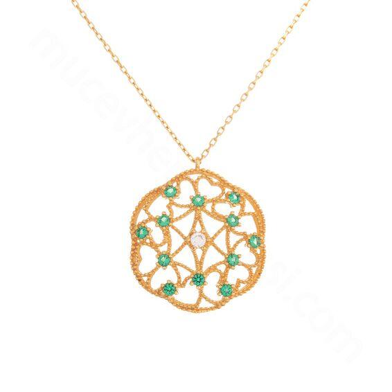 Mücevher Dünyası - 22 Ayar Zümrüt Taşlı Özel Tasarım Altın Kolye - 4,60 Gr.