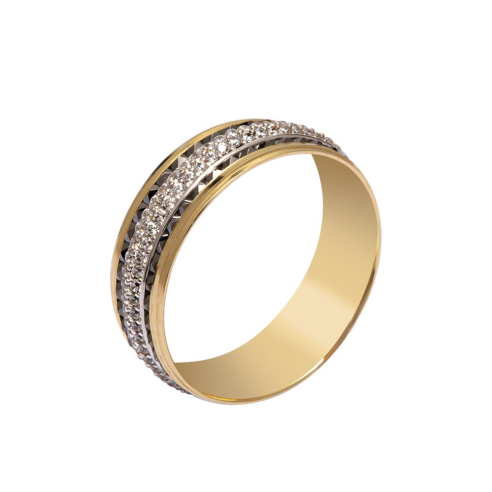 Mücevher Dünyası - 14 Ayar Beyaz Taşlı İşlemeli Altın Alyans (Kadın)