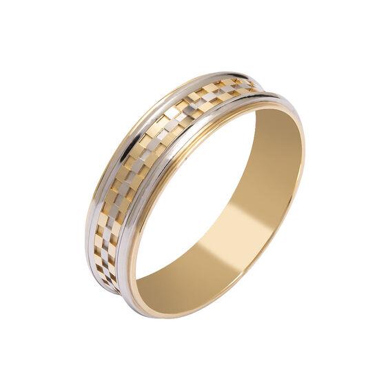 Mücevher Dünyası - 14 Ayar Damalı Tasarım Altın Alyans (Erkek)