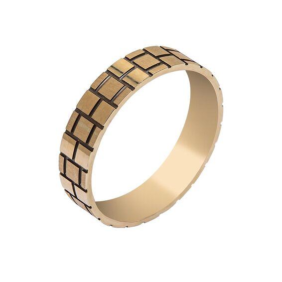 Mücevher Dünyası - 14 Ayar Desenli Altın Alyans (Erkek)