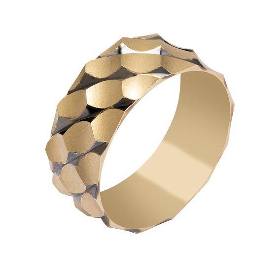 Mücevher Dünyası - 14 Ayar Desenli Kalın Altın Alyans (Erkek)