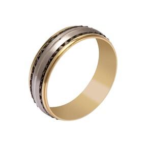 14 Ayar İşlemeli Altın Alyans (Erkek) - Thumbnail