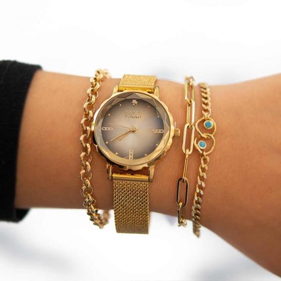 Mücevher Dünyası - Mıchael Tommy Gold Hasır Kordonlu Bayan Kristal Cam Saat