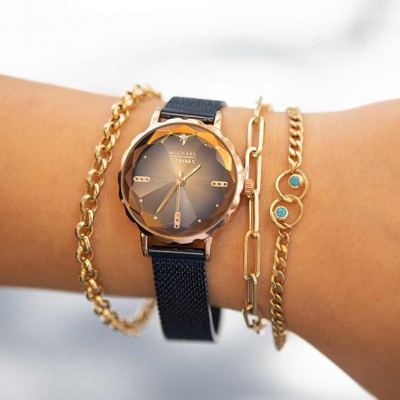 Mücevher Dünyası - Mıchael Tommy Lacivert Hasır Kordonlu Bayan Kristal Cam Saat