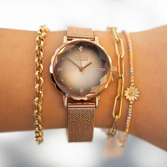 Mücevher Dünyası - Mıchael Tommy Rose Gold Hasır Kordonlu Bayan Kristal Cam Saat