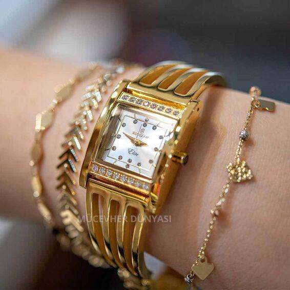 Mücevher Dünyası - Paslanmaz Çelik Revello Kadın İnce Kaburga Saat Altın Sarısı
