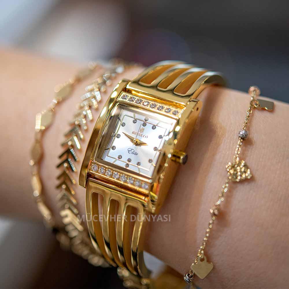 Mücevher Dünyası - Paslanmaz Çelik Revello Bayan İnce Kaburga Saat Altın Sarısı