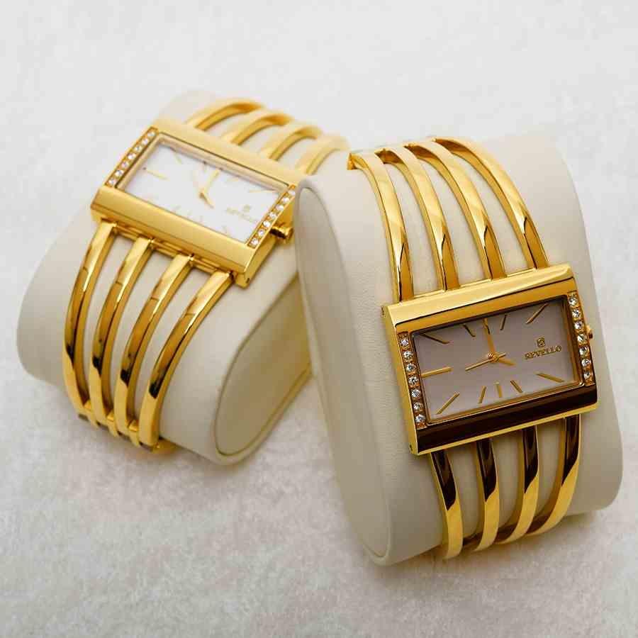 Mücevher Dünyası - Paslanmaz Çelik Revello Kadın Kaburga Saat Altın Sarısı