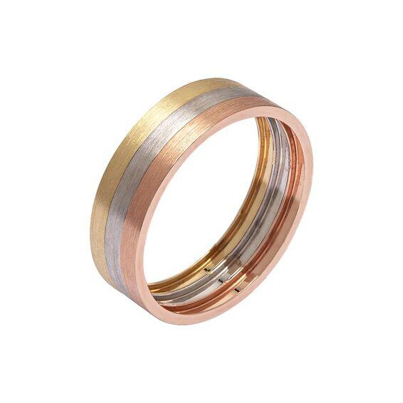Mücevher Dünyası - 14 Ayar Renkli Altın Alyans (Erkek)