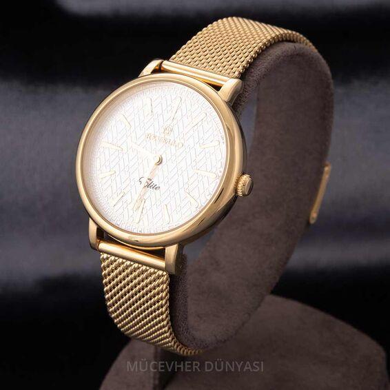 Mücevher Dünyası - Revello Altın Sarısı Hasır Kordon Kadın Kol Saati 80040001