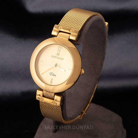 Mücevher Dünyası - Revello Altın Sarısı Hasır Kordonlu Bayan Kol Saati 80038740