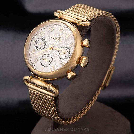 Mücevher Dünyası - Revello Altın Sarısı Hasır Kordonlu Kadın Kol Saati 80040095