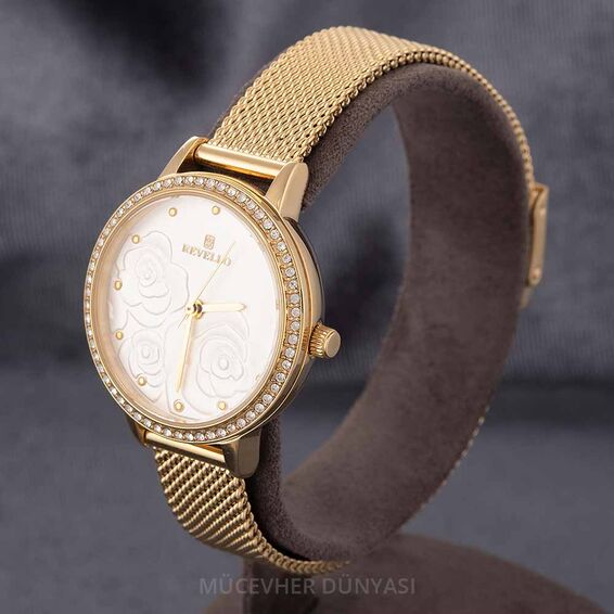 Mücevher Dünyası - Revello Altın Sarısı Hasır Kordonlu Sırataşlı Kadın Kol Saati 80042648