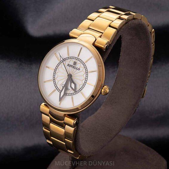 Mücevher Dünyası - Revello Altın Sarısı Metal Kadın Kol Saati 80043065