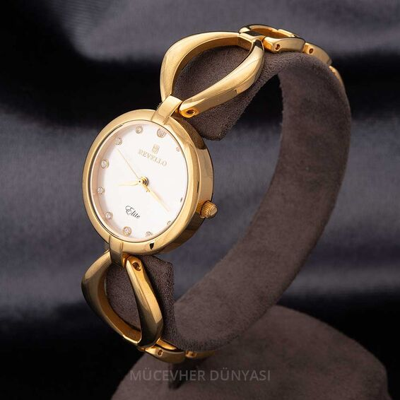 Mücevher Dünyası - Revello Altın Sarısı Metal Kordonlu Kadın Kol Saati 80040002