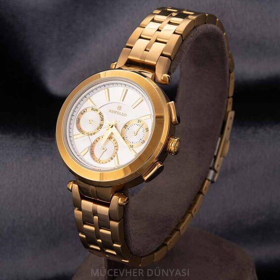 Mücevher Dünyası - Revello Altın Sarısı Metal Kordonlu Kadın Kol Saati 80042730