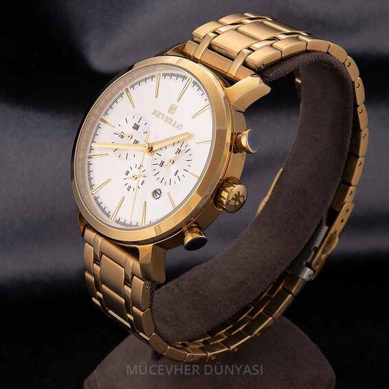Mücevher Dünyası - Revello Altın Sarısı Metal Kordonlu Erkek Kol Saati 80042204