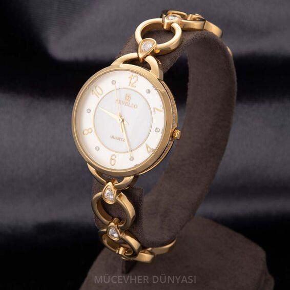 Mücevher Dünyası - Revello Altın Sarısı Metal Kordonlu Sırataşlı Bayan Kol Saati 80022008
